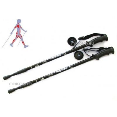 Trekingové palice ČIERNE - sada ( 2 palice), trekové teleskopické palice pre turistiku, nordic walking