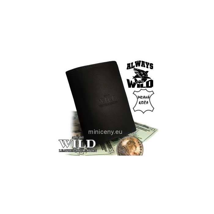 Exkluzívna pánska kožená peňaženka ALWAYS WILD /229 ČIERNA LAK