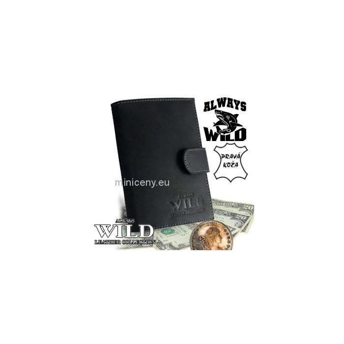 Exkluzívna pánska kožená peňaženka ALWAYS WILD /20 TMAVOŠEDÁ