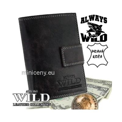 Exkluzívna pánska kožená peňaženka ALWAYS WILD /291 ČIERNA VINTAGE
