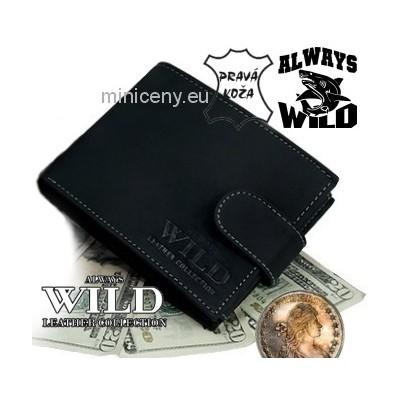 Exkluzívna pánska kožená peňaženka ALWAYS WILD /03 čierna