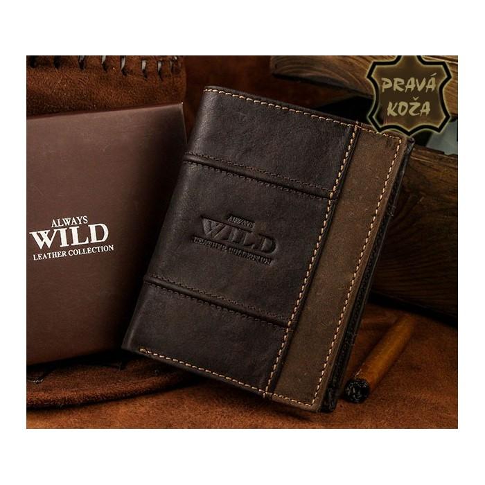 Exkluzívna pánska kožená peňaženka ALWAYS WILD /18 HNEDÁ