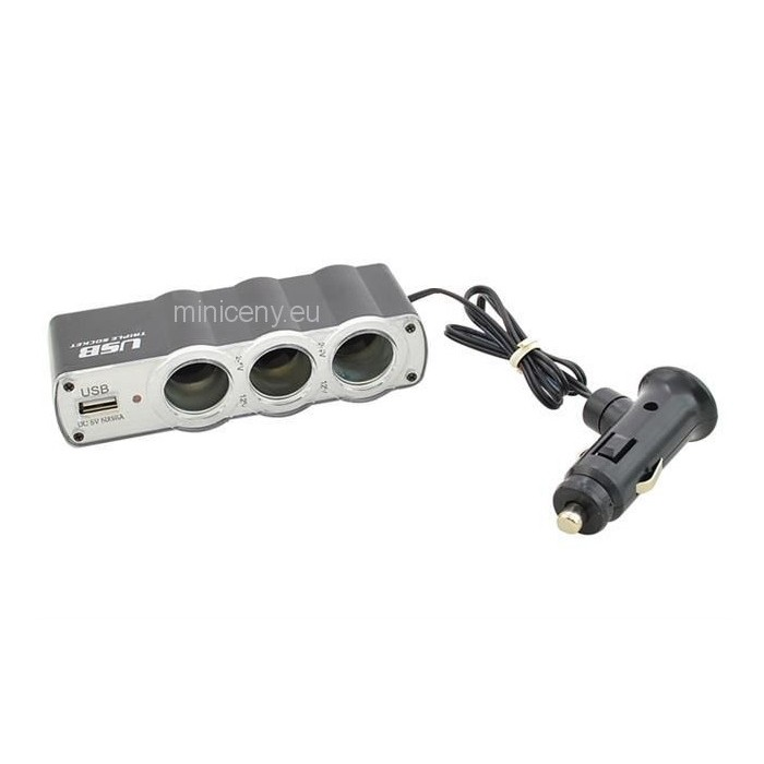 Rozbočovač do autozapaľovača na 3 zásuvky  + 1 USB