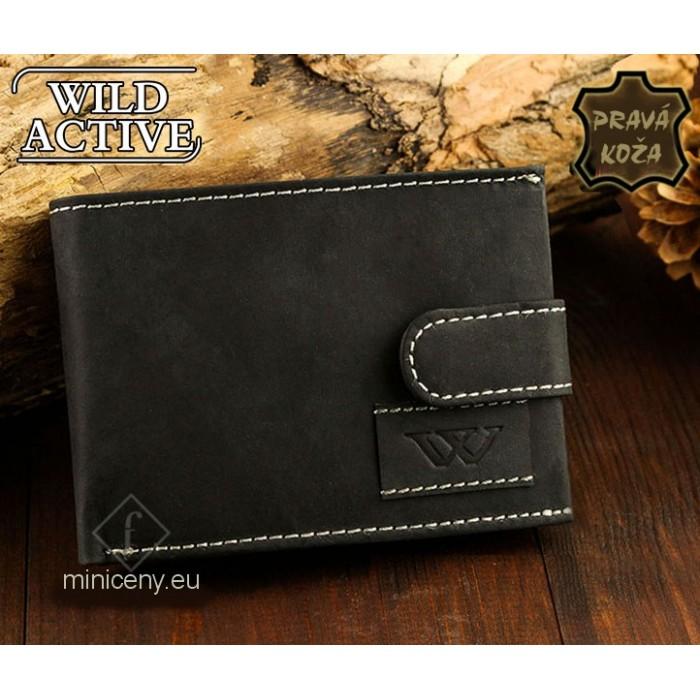 Exkluzívna pánska kožená peňaženka WILD ACTIVE /58 BLACK