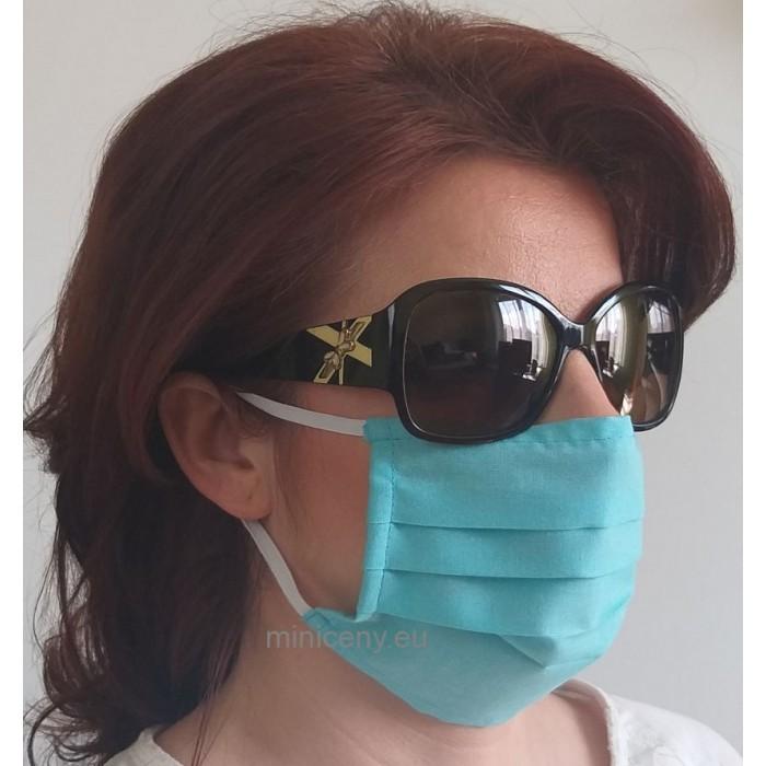 Ochranné rúško na tvár 1ks - bavlnené s gumičkou / rúško na ústa (tyrkysové)
