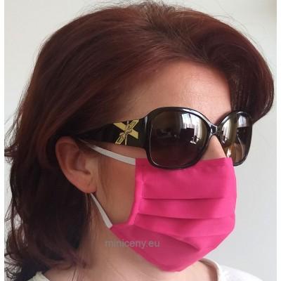 Ochranné rúško na tvár 1ks - bavlnené s gumičkou / rúško na ústa (ružové)