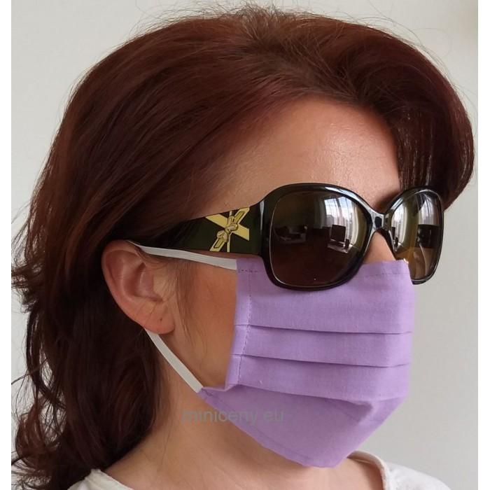 Ochranné rúško na tvár 1ks - bavlnené s gumičkou / rúško na ústa (fialové)