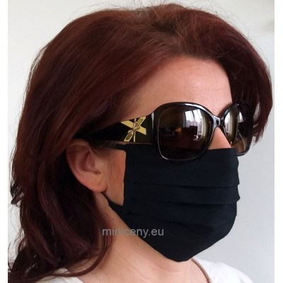 Ochranné rúško na tvár 1ks - bavlnené s gumičkou / rúško na ústa (čierne)