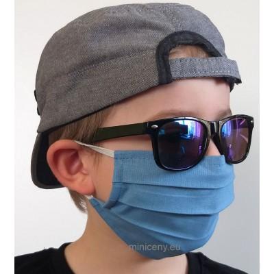 Detské rúško na tvár 1ks - bavlnené s gumičkou / rúško na ústa (modré)